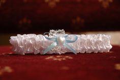 Bride's garter and something blue.