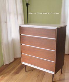 Midcentury Modern Dresser Walnut and White $300
