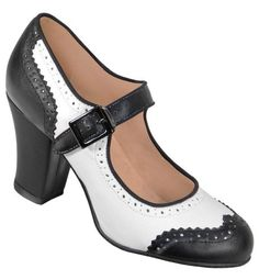 Aris Allen Women's 1940s Vintage Black & White Wingtip Heeled Mary Jane Dance Shoes with Suede Sole
