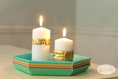 Oh So Lovely: DIY // THUMB TACK SCALLOPED CANDLES