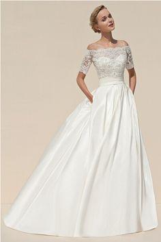 2015 A-Line Boat Neck Wedding Dresses Elegant Ivory Charmeuse Short Sleeve Vintage Lace Appliques Corset Bridal Dress Gown Cheap