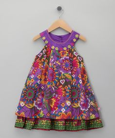 Take a look at this Purple Floral Yoke Dress - Toddler & Girls by Cutey Couture on #zulily today!