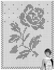 Filet crochet motif Rose scarf