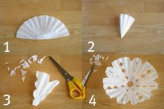 Coffee Filter Snowflakes on a String | Make and Takes