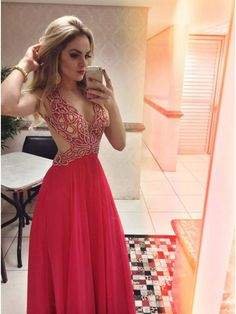 Unique red v neck chiffon long prom dress, red evening dress for teens