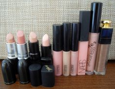 Lipsticks 1) Mac Creme d'nude 2) Mac Hue 3) Gosh Darling 4) Barry M 101 (Marshmellow) - The palest nude   Lipglosses 5) Mac Underage 6) Mac C-thru 7) Mac Mouthwatering 8) Nars Turkish Delight 9) BeneFit (LG23) Didn't hear it from me 10) Dior Addict Ultra-Gloss 313  http://bubblegarm.blogspot.com