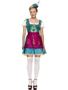 Deluxe Dirndl-asu.   Oktoberfestille pukeudutaan mielellään perinteiseen tyyliin. Baijerin naisten ja tyttöjen kansallispuvusta käytetään nimitystä dirndl. Siinä missä miehet pukeutuvat olutjuhlille nahkahousuihin sonnustautuu naisväki koristeelliseen, tiukkaan pukuun.