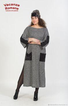 Купить Vacanze Romane-1500 - трикотажное платье, авторское платье, длинное платье, серый цвет