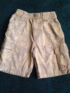 Toddler Boys OP Khaki Hawaiian Flower Shorts Cargo Pockets Elastic Waist Size 3T $9.99 #hawaiian shorts