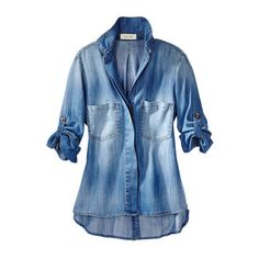 brea denim shirt - collared & button downs - shirts & tops - women -... ($198) ❤ liked on Polyvore featuring tops, cashmere top, blue button up shirt, button up top, shirt top and button down top