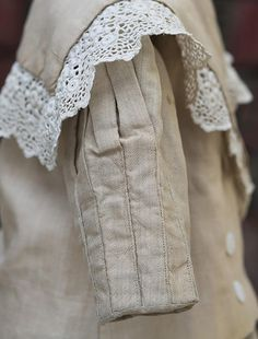 Antique French Original Tan SIlk Mariner Costume/Dress for Jumeau Bru from…