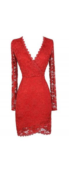 Naughty Or Nice Crossover Hemline Longsleeve Lace Dress in Red  www.lilyboutique.com