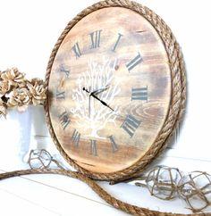 Meet Me Bye The Sea Coral Clock Wooden Beach by MeetMeByeTheSea