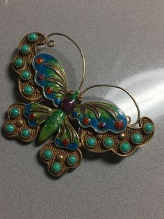 Vintage CHINESE Cloisonne enamel Butterfly Turquoise Silver  PIN Brooch #VintagePinbroochpendant