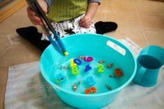 Fishing with tongs. A great center to go with your ocean unit. Practice 1:1 correspondence and strengthen fine motor skills. Kids will love the fishing in the water. Read more at: http://mysmallpotatoes.com/2013/03/06/1-fish-2-fish-3-fish-clownfish-a-one-to-one-correspondence-counting-game-for-small-children/
