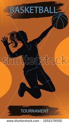 Athlete woman in a jump with a basketball - art vector. Basketball Championship Sports Poster