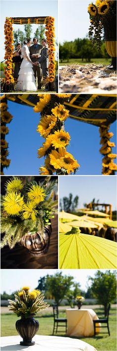 sunflower wedding decor and ceremony