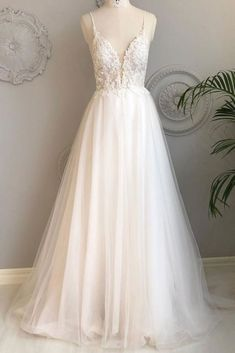 Charming White V-neck Appliques Wedding Dress,Simple Backless Prom Dress,A-Line Tulle Bridal Dress sold by SeventeenProm on Storenvy