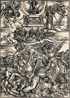9. DURER, Albrecht (1471-1528) / The Apocalypse [series] #09 of 16 -- The 5th & 6th Trumpets / 1496-98 / woodcut.  durer-apocalypse-09