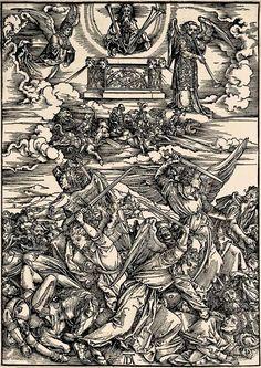9. DURER, Albrecht (1471-1528) / The Apocalypse [series] #09 of 16 -- The 5th & 6th Trumpets / 1496-98 / woodcut. durer-apocalypse-09