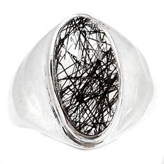 Tourmalated Quartz (Black Rutile) 925 Sterling Silver Ring Jewelry s.7 BRUR777 - JJDesignerJewelry