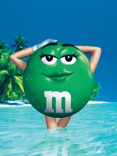 Green M strips down for swimsuit issue of 'Sports Illustrated. Yeah you go Ms. Green M&ms, Miss Green, Green Colors, Green Life, M&m Characters, Green Characters, Favorite Candy, Favorite Color, Favorite Things