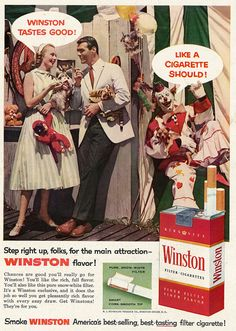 """1957 Winston Cigarettes Ad, """"Mad Men-esque"""" Couple at Carnival, with Clown 