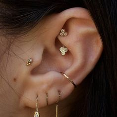 WEBSTA @ loverpiercings - from @rosegoldsf - New rook jewelry bringing balance to a great elf ear tri stone barbell by @bvla