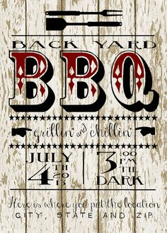 Back Yard BBQ Party Customizable Invitation {Free Printable!!}
