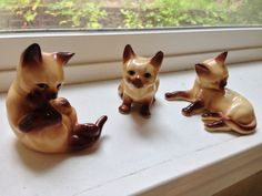 3 Kittens siamese cat ceramic figurine by happykristen on Etsy
