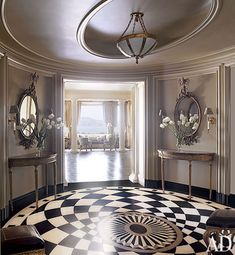 In a Beaux Arts apartment building in San Francisco, the subdued-gray entrance hall, with its Belgian-marble floor, helps frame the sun-drenched living room beyond. Architectural Digest, Style At Home, Floor Design, House Design, Ceiling Design, Foyer Flooring, Penny Flooring, Ceramic Flooring, White Flooring