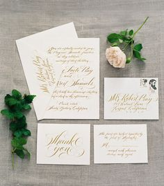 Gold calligraphy: http://www.stylemepretty.com/2014/02/25/organic-provencal-editorial-get-the-look/   Photography: Rylee Hitchner - http://ryleehitchnerphotography.com/