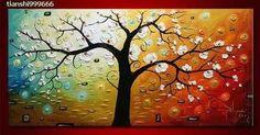 abstracto pintura al leo sobre lienzo de arte arbol de la vida