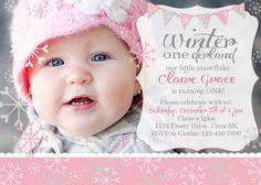 winter onederland photo invitation snowflake first birthday by rachellesprintables on etsy - Winter Onederland Party Invitations