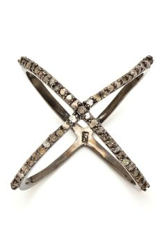 Jewelry Diamond : Champagne Diamond X Ring - 0.30 ctw  https://buymediamond.com/jewelry/jewelry-diamond-champagne-diamond-x-ring-0-30-ctw/ #Jewelry