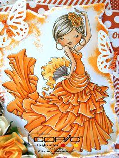 Copic Marker Spain: image from Milk Coffee Digital Stamps - Hair: E44, E43. Skin: E30, E21, E00, E11, cheeks E02. Oranges for everything else: R12, R16, YR18, R15, YR31