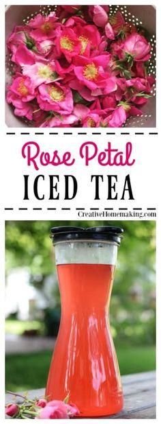 Rose Petal Iced Tea - Creative Homemaking Non Alcoholic Drinks, Cocktails, Beverages, Fresh Rose Petals, Iced Tea Recipes, Rose Recipe, How To Make Rose, Flower Food, Fruit