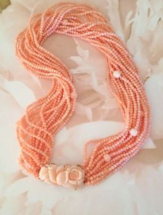 Natural Angel Skin Carved Pink Coral necklace