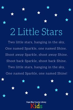 2 Little Stars A weekly storytime favorite! This familiar fingerplay is perfect for night and outer Space Theme Preschool, Space Activities, Preschool Music, Songs For Toddlers, Space Songs For Kids, Baby Storytime, Nursery Songs, Nursery Rhymes, Outer Space Theme