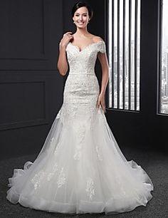V-nyakú+Szűk+szabású+Kápolna+uszály+Menyasszonyi+ruha+-+Elef...+–+USD+$+299.99