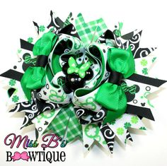 St Patricks Day Mickey Mouse Inspired Hair Bow www.facebook.com/missbsbowtique05 for weekly auctions and more!