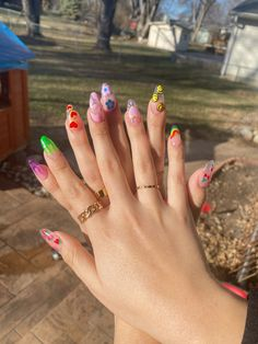 Clear Nail Designs, Acrylic Nail Designs, Clear Nails With Design, Simple Acrylic Nails, Best Acrylic Nails, Cute Simple Nails, Cherry Nails, Cow Nails, Funky Nails