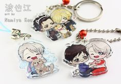 These adorable Yuri on Ice charms are made of thick, clear acrylic and are about 1.5 (4 cm) tall. They are single sided with a waterproof print.  You can choose the character you want or buy a set offer. Theres young Victor, Agape Yurio, Eros Yuri, Victor with Makkachin(dog), Yuri and Victor in love, and Otabek with Yurio and a tiger plush!  You are free to choose a finish for your charm: keyring, phone strap, strap with dust plug or ball chain. When buying any set offers, you can of course…
