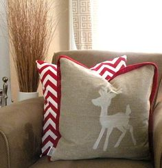 Find this Pin and more on Christmas ideas. & Snowflake on Red Burlap PIllow Cover - 26 Awesome Handmade ... pillowsntoast.com