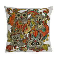 4 Owls Throw Pillow by DENY Designs Valentina Ramos