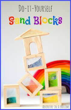 Rainbow Sand Blocks: Simple DIY toy project on how to build a set of handmade sand block for kids. A perfect addition to Reggio Inspired and Waldorf playrooms! Kids Woodworking Projects, Diy Projects, Woodworking Files, Fine Woodworking, Woodworking Journal, Woodworking Lessons, Woodworking Beginner, Woodworking Furniture, Pallet Furniture