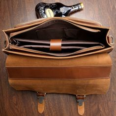 9aad3df2b3b8  Cognac  Leather Briefcase Business Bag