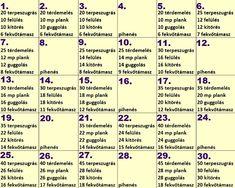 Zsírgyilkos újévi kihívás: 30 nap alatt lerobban rólad a fölösleg - Ripost Plank Workout, Thigh Exercises, Tabata, Pilates, Healthy Lifestyle, Health Fitness, Lose Weight, Challenges, Detox