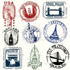 Series of vintage stylized stamps of the West