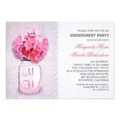 Rustic Burlap Mason Jar Pink Engagement Party Invitation